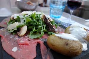 Beef carpacio at Les Terroirs