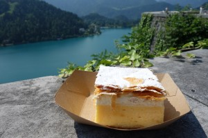 the famous cream cake at Lake Bled